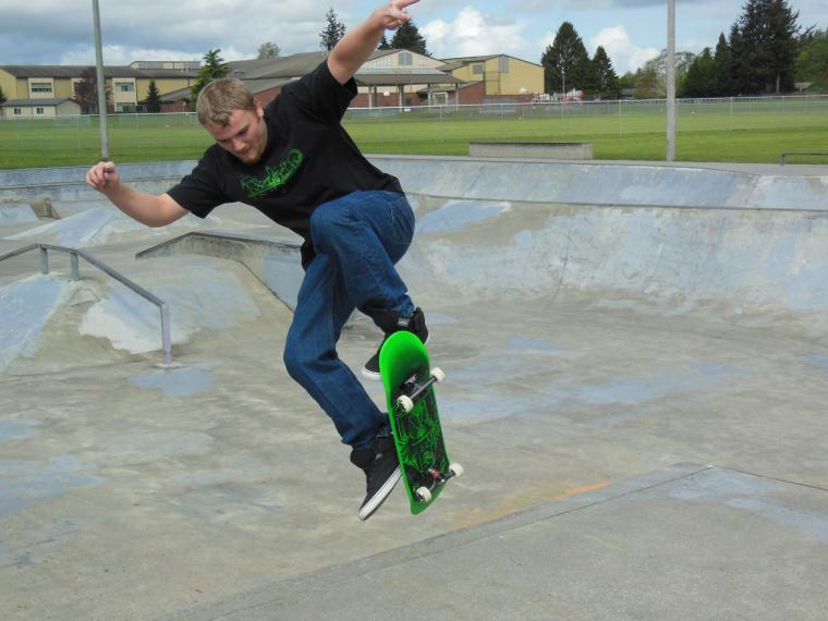 My son flying at the skate park